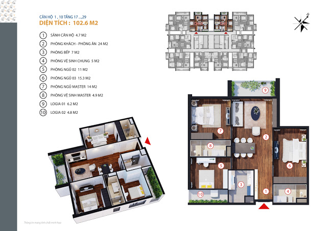 Căn hộ 1,10 tầng 17-29