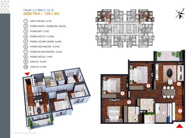 Căn hộ 2,9 tầng 31,32,33