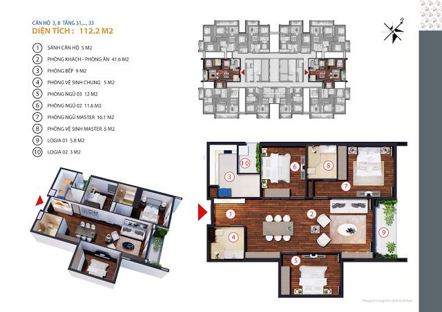 Căn hộ 3,8 tầng 31-33