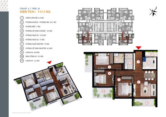 Căn hộ 4,7 tầng 30