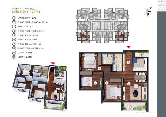 Căn hộ 4,7 tầng 31,32,33