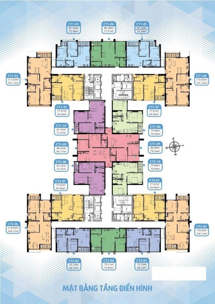 Mặt bằng tầng điển hình căn hộ chung cư mỹ đình plaza