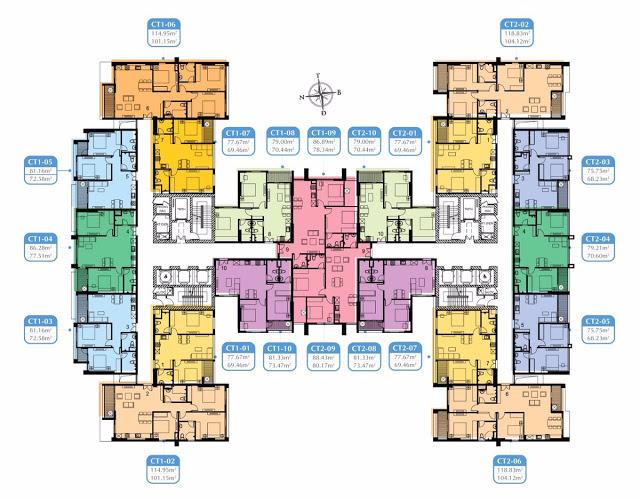 Mặt bằng các căn hộ Mỹ Đình Plaza