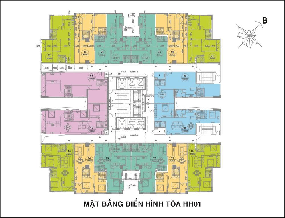 mặt bằng điển hình tòa HH01