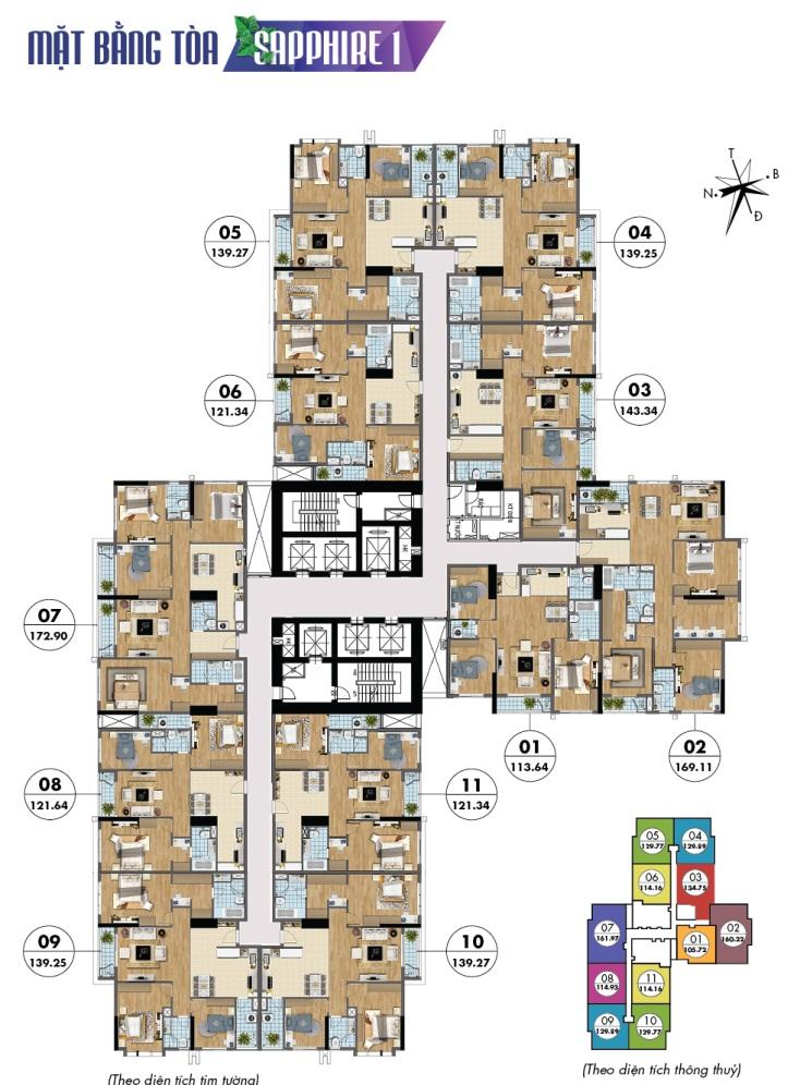 Mặt bằng căn hộ tầng điển hình tòa Sapphire 1