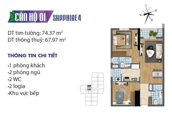 Thiết kế căn hộ 01 tòa Sapphire 4 chung cư Goldmark City
