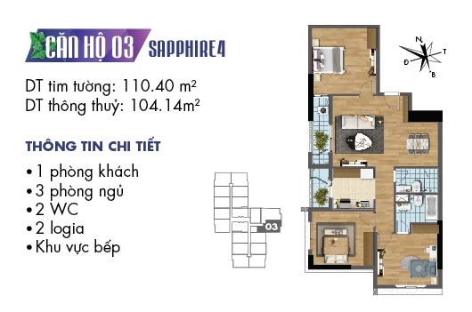 Thiết kế căn hộ 07, 15 tòa Sapphire 03 chung cư Goldmark City