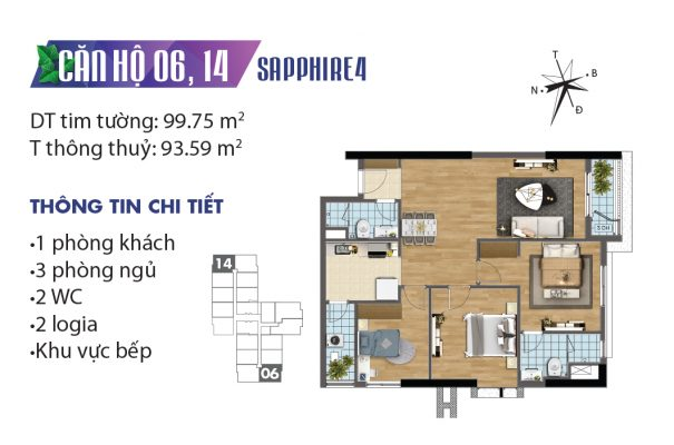 Thiết kế căn hộ 06,14 tòa Sapphire 02 chung cư Goldmark City