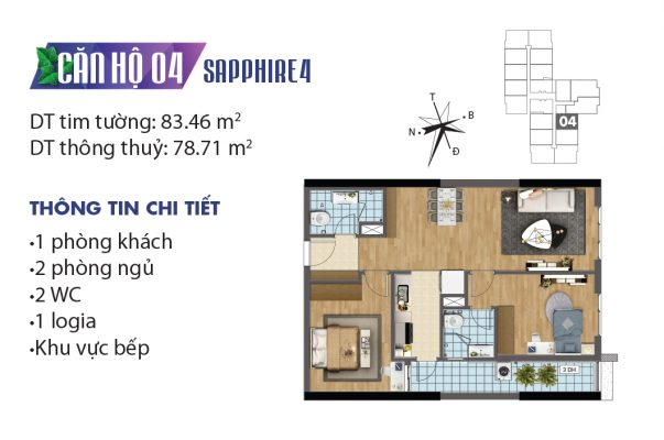 Thiết kế căn hộ 04 tòa Sapphire 4 chung cư Goldmark City