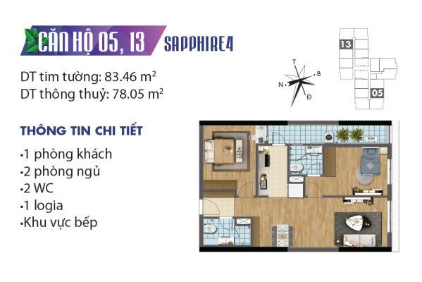 Thiết kế căn hộ 04 tòa Sapphire 05, 13 chung cư Goldmark City