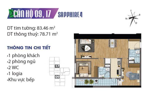 Thiết kế căn hộ 04 tòa Sapphire 09, 17 chung cư Goldmark City