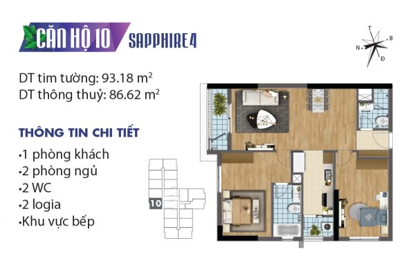 Thiết kế căn hộ 04 tòa Sapphire 10 chung cư Goldmark City