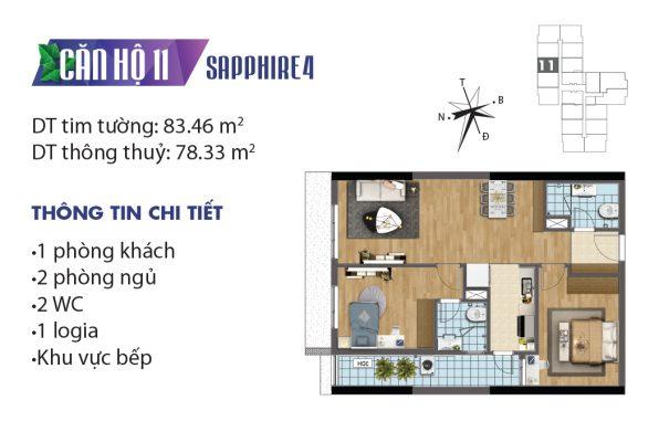 Thiết kế căn hộ 04 tòa Sapphire 11 chung cư Goldmark City