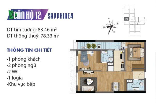 Thiết kế căn hộ 04 tòa Sapphire 12 chung cư Goldmark City