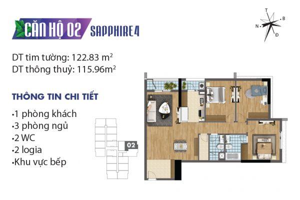 Thiết kế căn hộ 07, 15 tòa Sapphire 02 chung cư Goldmark City