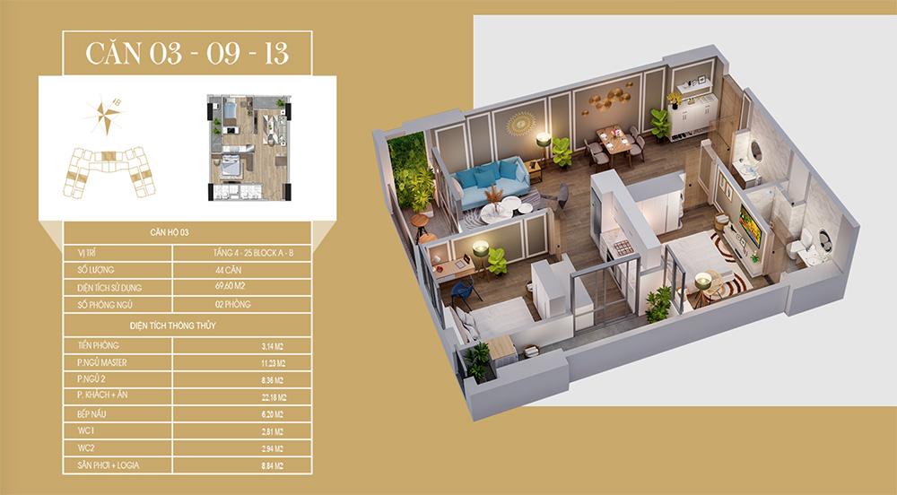 căn hộ mẫu dự án chung cư tecco diamond 3